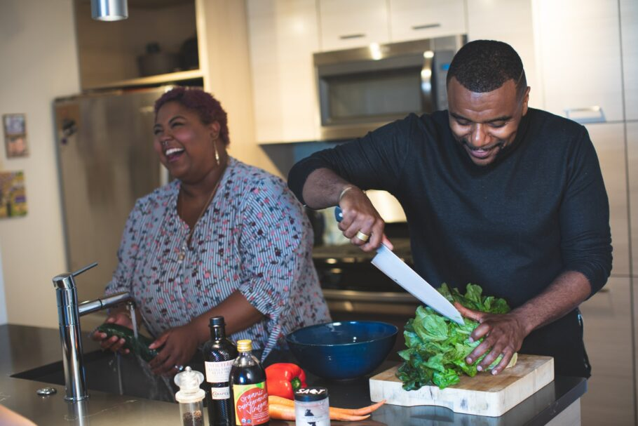 Couple cooking a healthy meal