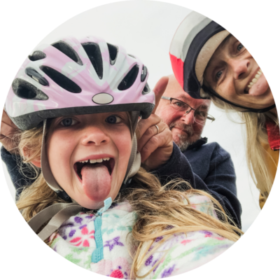 Family having a fun cycling day out
